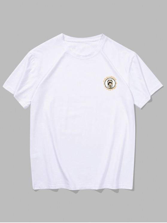 Camiseta con Estampado de Animal de Dibujos Animados con Mangas Cortas - Blanco 2XL