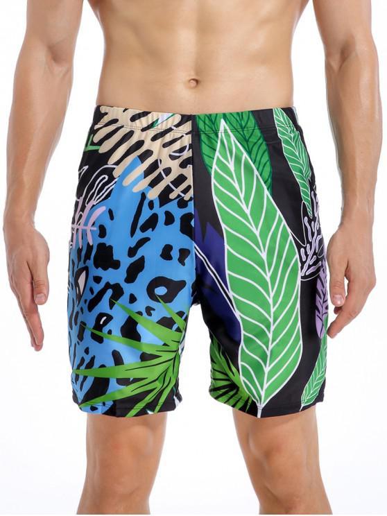 Tropical Leaf Leopard Swimming Shorts - متعددة-A 2XL