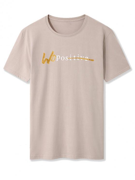 Letter Print Short Sleeve Basic T-shirt - كاكي XS
