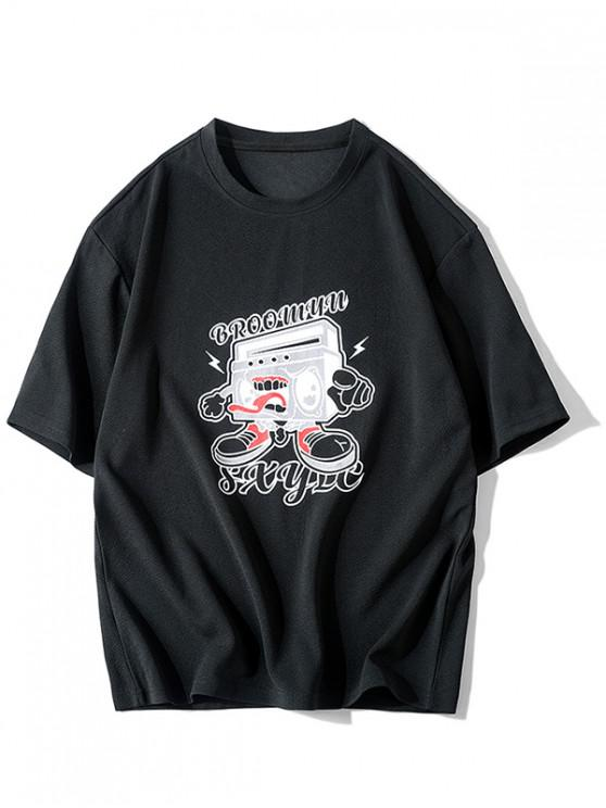 Cartoon Grafik Grundlegendes Lässiges T-Shirt - Schwarz XS