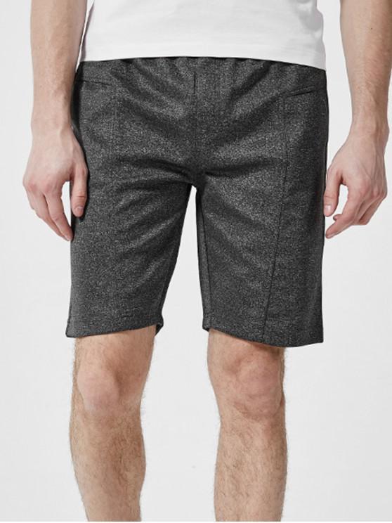 Letter Detail Plain Drawstring Casual Shorts - الرمادي الداكن 2XL