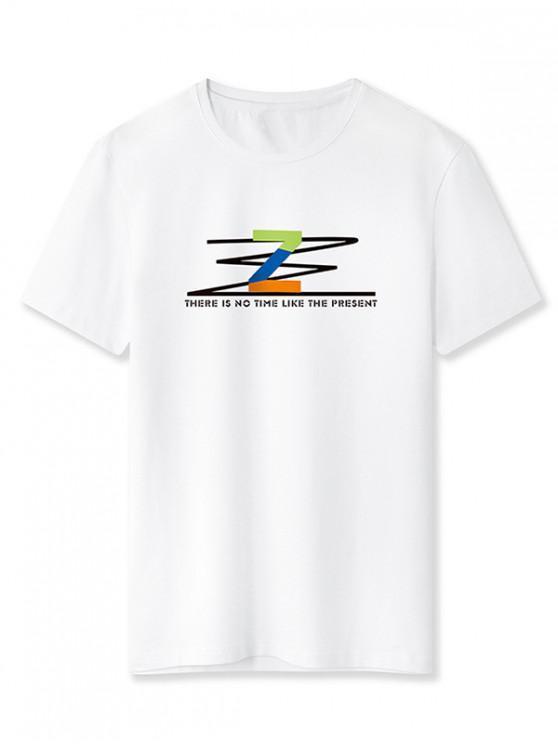 Letter Z Graphic Basic T-shirt - أبيض XS