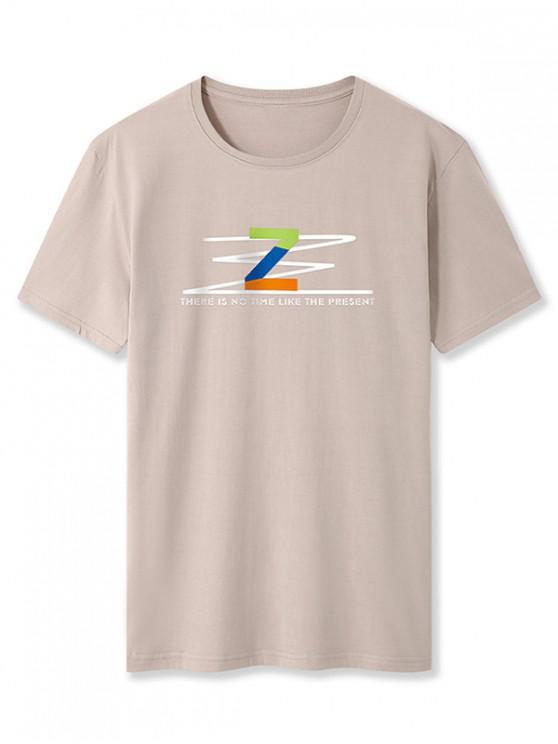 ladies Letter Z Graphic Basic T-shirt - KHAKI XS