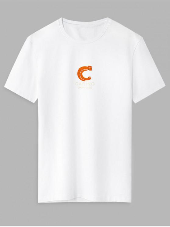 online Caring Graphic Print Basic T-shirt - WHITE XS