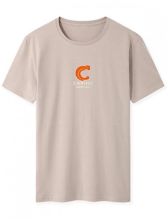 Caring Graphic Print Basic T-shirt - كاكي XL