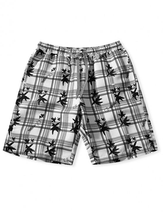 ladies Plaid Graphic Print Board Shorts - WHITE L