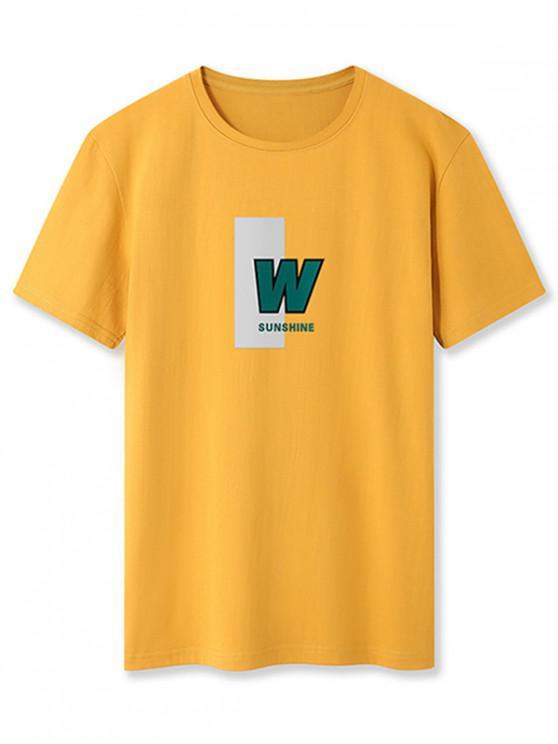 W Sunshine Graphic Basic T-shirt - نحلة صفراء XL