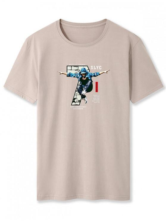 Cool Boy Letter Graphic Basic T-shirt - كاكي XS
