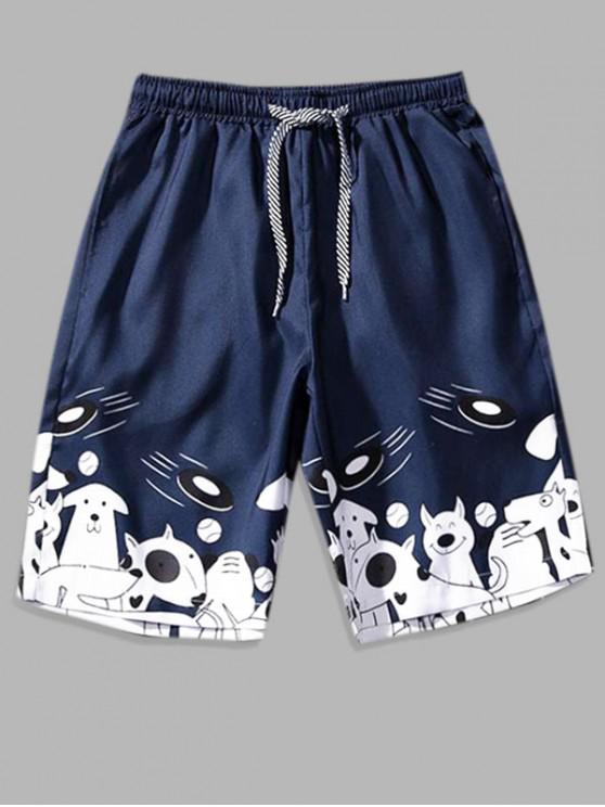 Cartoon Animal Print Board Shorts - طالبا الأزرق L