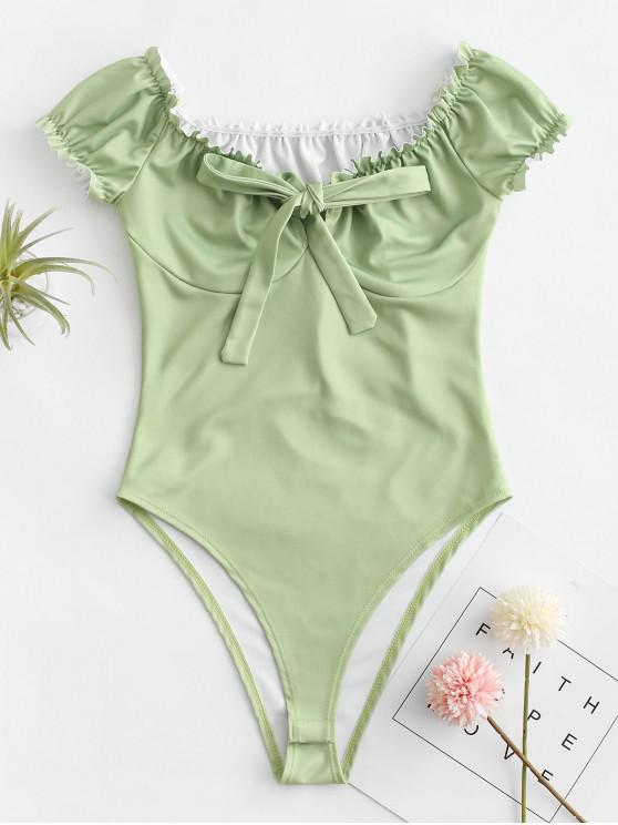 fashion Ruffle Bowknot Cupped Bodysuit - SALAD GREEN S