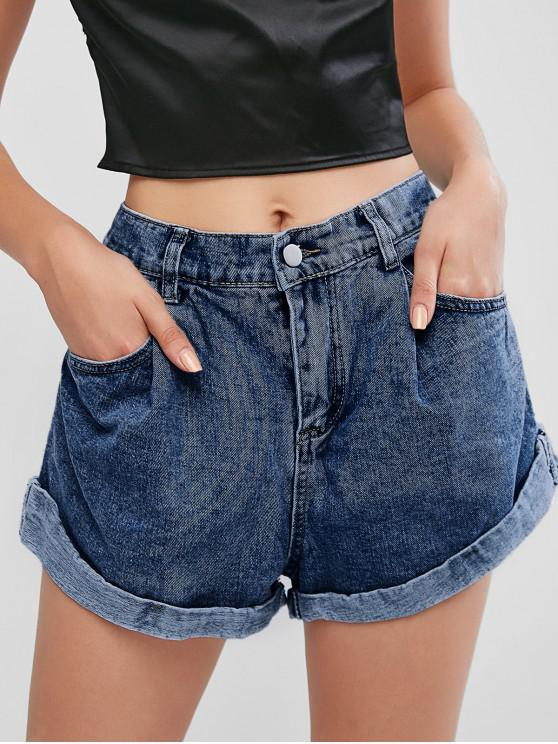 outfit Cuffed Hem Pockets High Waisted Denim Shorts - DENIM DARK BLUE XL