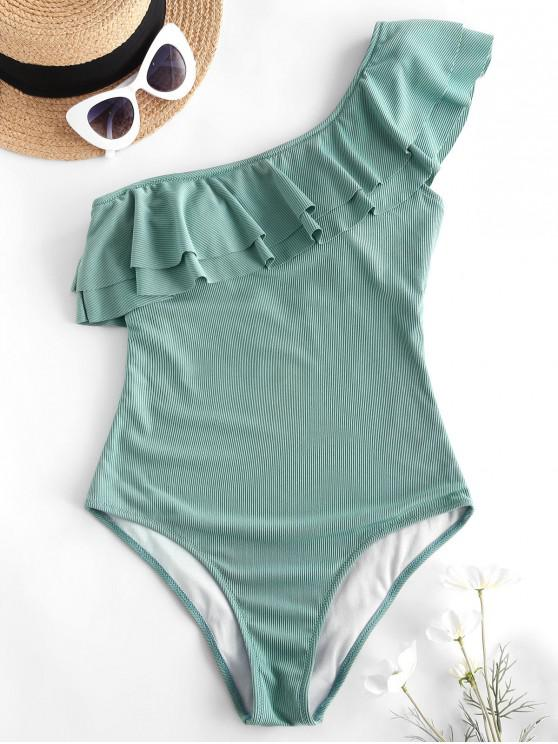 women's ZAFUL Flounce Ribbed One Shoulder One-piece Swimsuit - SEA TURTLE GREEN S