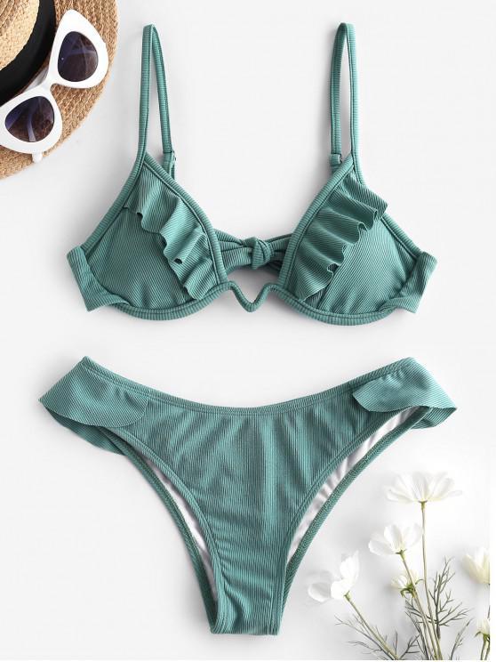 ZAFUL Gerippte Bikini Badebekleidung mit Rüschen - Meeresschildkröte Grün S