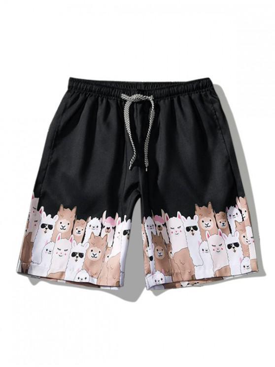 Cartoon Animal Print Casual Shorts - أسود XS