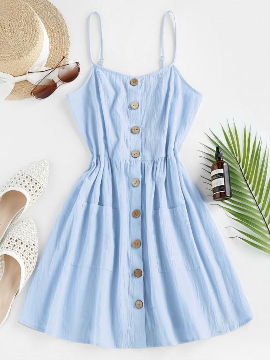 latest ZAFUL Button Up Shirred Cami Pocket Dress - LIGHT BLUE L