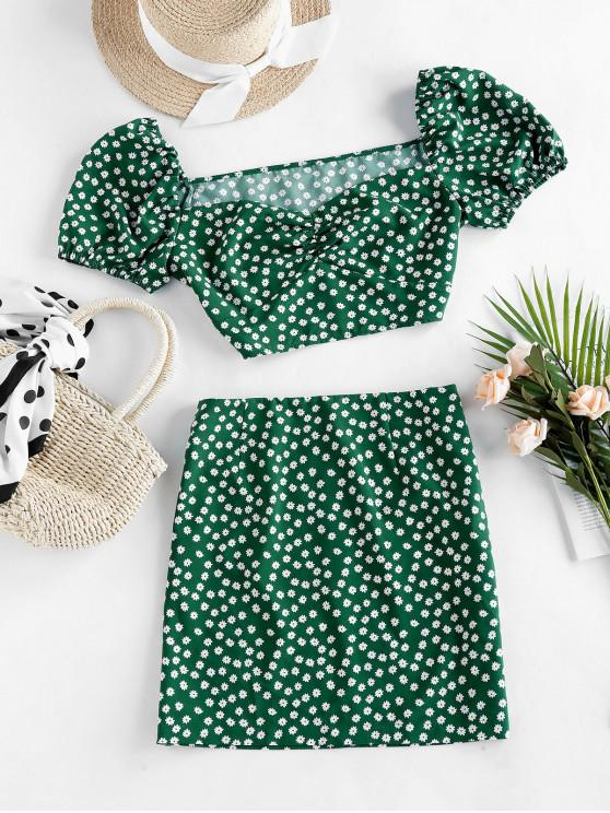 hot ZAFUL Ditsy Floral Puff Sleeve Ruched Two Piece Set - PINE GREEN M