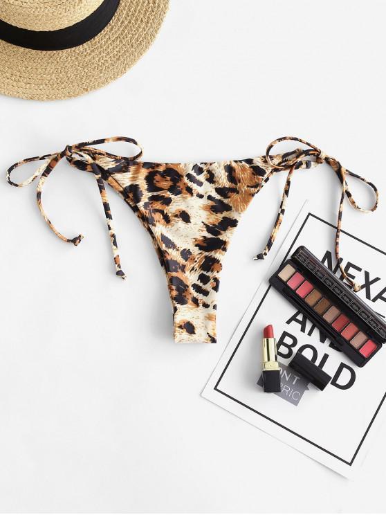 womens ZAFUL Tie Side Leopard Bikini Bottom - MULTI-A S