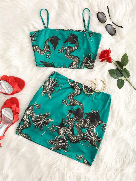 chic Dragon Print Oriental Mini Skirt Set - LIGHT SEA GREEN S