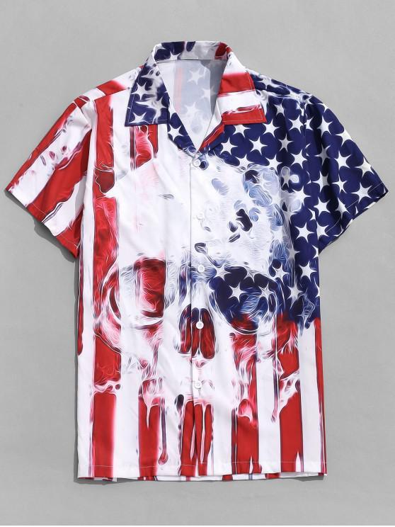 Camisa con Botón de Impresión de Bandera Americana - Rojo XL