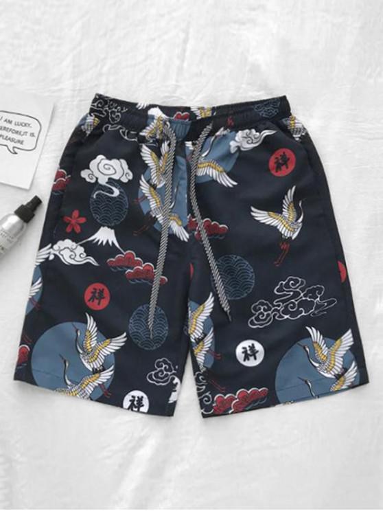 Chinese Animal Print Board Shorts - طالبا الأزرق M