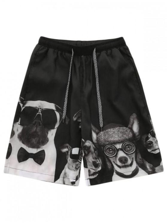 Cartoon Dog Print Board Shorts - أسود L