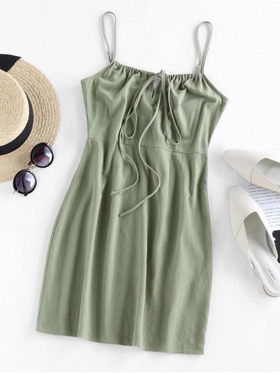 outfit ZAFUL Tied Mini Cami Dress - LIGHT GREEN M