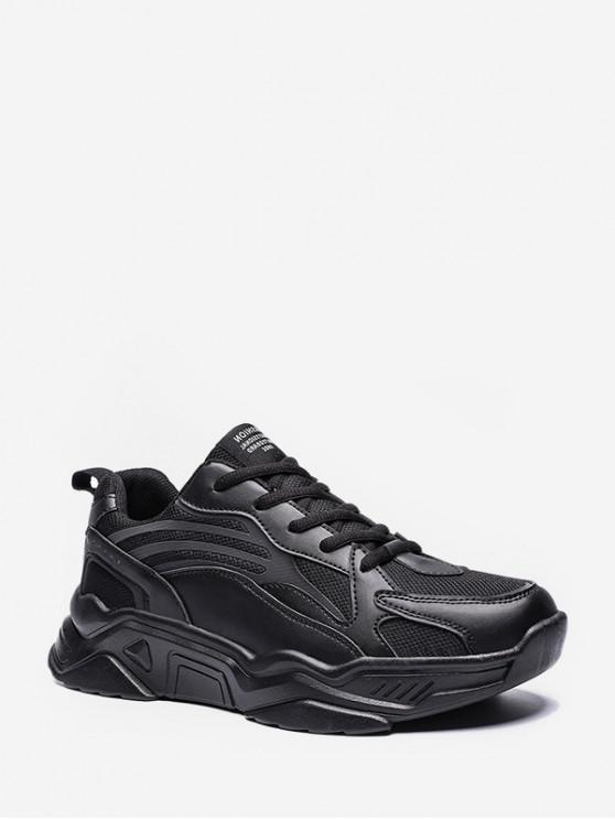 womens Geometric Mesh Panel Sneakers - BLACK EU 43
