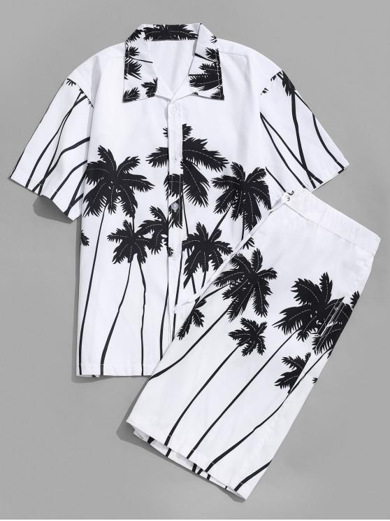 Camisa Hawaii Estampado Palma de Coco y Shorts de Playa - Blanco M