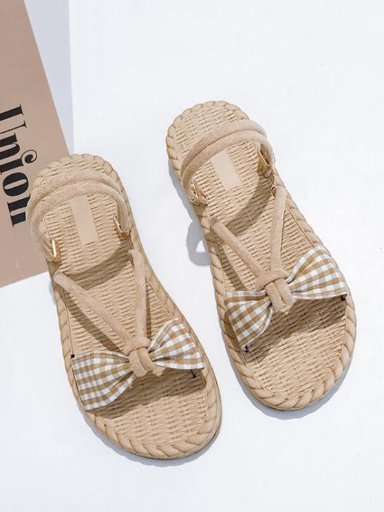 outfit Plaid Bowknot Convertible Strap Flat Sandals - BEIGE EU 40