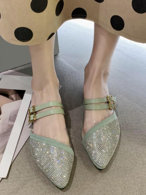 hot Rhinestone Pointed Toe Flat Shoes - LIGHT GREEN EU 39