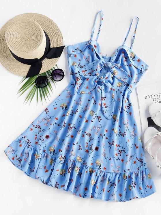 sale ZAFUL Flower Print Tied Flippy Hem Dress - BLUE M