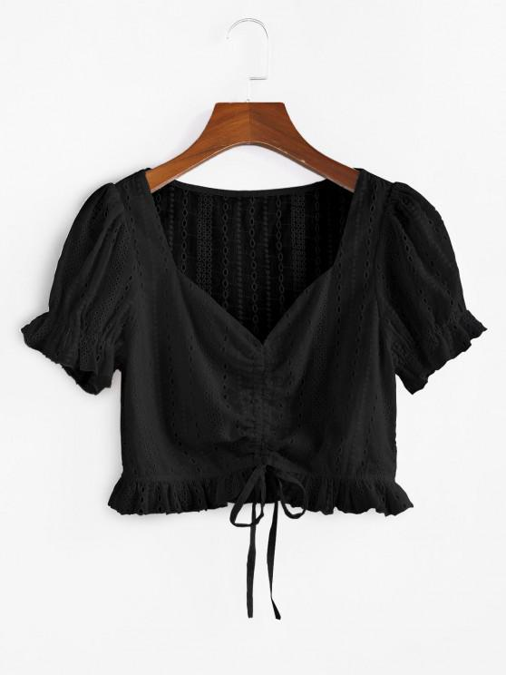 outfits ZAFUL Eyelet Cinched Ruffle Crop Blouse - BLACK S