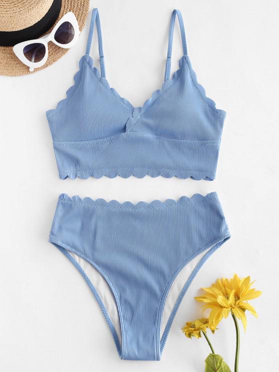 ZAFUL Textured Ribbed Scalloped Tankini Swimwear - سماء الأزرق M