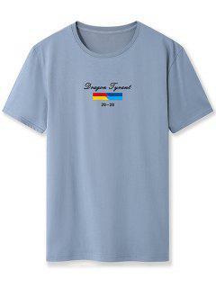 T-shirtde BaseGraphique EtLettreImprimés - Bleu-gris Xs