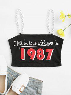 ZAFUL Letter Graphic Chain Straps Crop Top - Black M