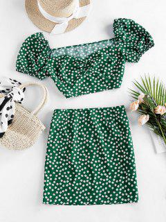 ZAFUL Ditsy Floral Puff Sleeve Ruched Two Piece Set - Pine Green L