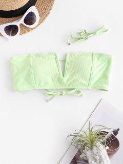 ZAFUL V Wire Textured Bandeau Bikini Top - Mint Green S