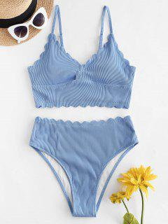 ZAFUL Textured Ribbed Scalloped Tankini Swimwear - Day Sky Blue M
