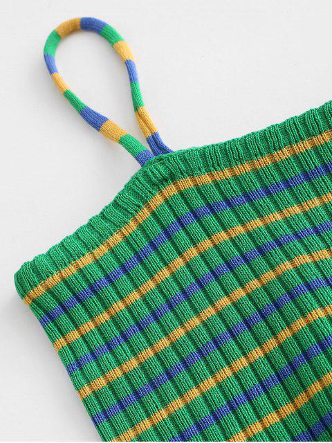 Haut Court Rayé à Bretelle - Vert Taille Unique Mobile