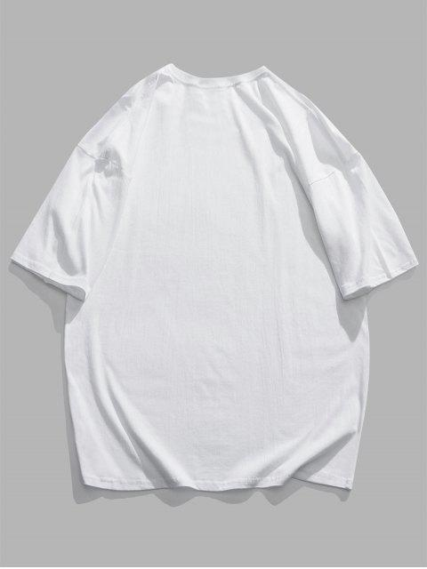 fashion Tokyo City Cartoon Graphic Basic T-shirt - WHITE 3XL Mobile