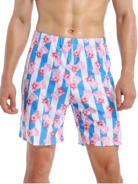 ladies Cartoon Pig Striped Beach Swimming Shorts - MULTI-A 2XL Mobile