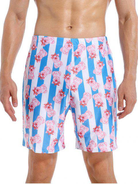 Cartoon Schwein Gestreiftes Strand Badeshorts - Multi-A 2XL Mobile
