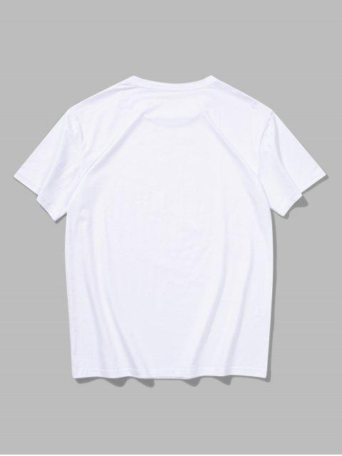 Short Sleeves Flower Painting Print T-shirt - أبيض XL Mobile