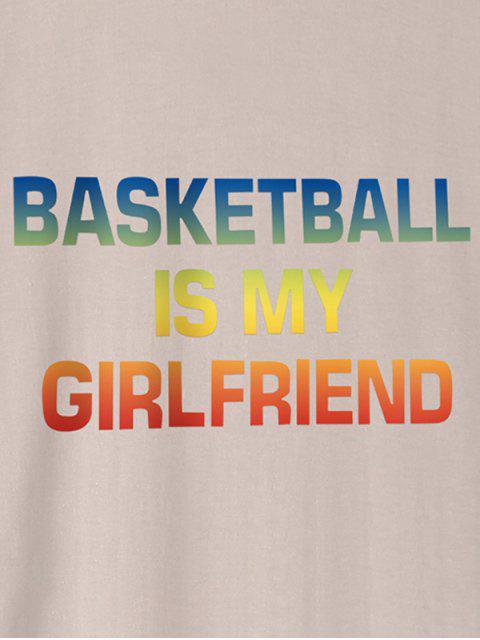 Ombre Basketball Buchstabe Grafik T-Shirt - Khaki XS Mobile