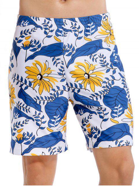 Shorts de Baño de Estampado de Plantas de Vacaciones - Azul Océano  L Mobile