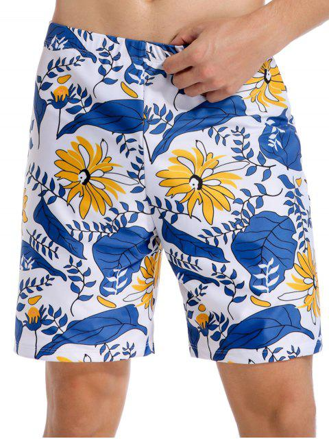 lady Flower Plant Leaf Print Vacation Swim Shorts - OCEAN BLUE 2XL Mobile