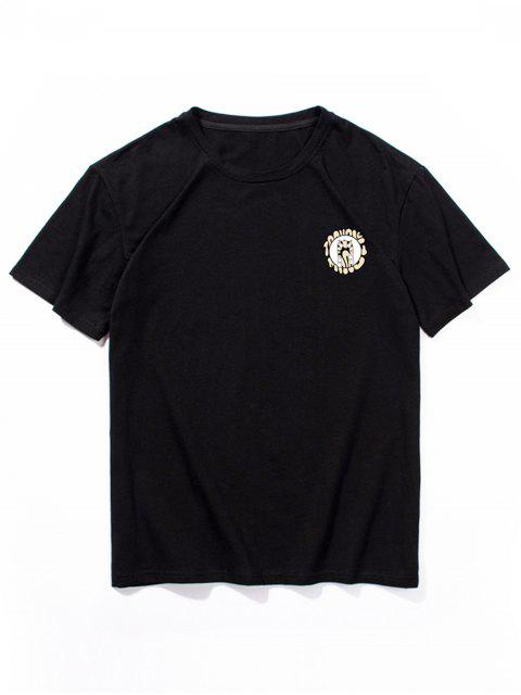 Camiseta con Estampado de Animal de Dibujos Animados con Mangas Cortas - Negro M Mobile