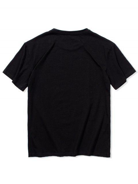 Camiseta con Estampado de Animal de Dibujos Animados con Mangas Cortas - Negro L Mobile