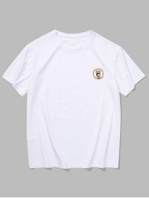 Camiseta con Estampado de Animal de Dibujos Animados con Mangas Cortas - Blanco 2XL Mobile
