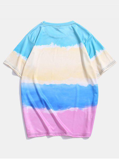 T-shirt Casual de Impressão de dye - Multi-A 3XL Mobile